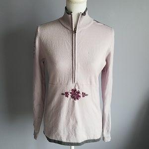 Athleta Embroidered Merino Wool Half Zip